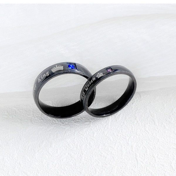 His King Her Queen Couples Matching Promise Ring Stainless Steel with Cubic Zirconia Milgrain Edge Comfort Fit His and Hers Wedding Band for Mens Womens Mens Her King Size 10 black