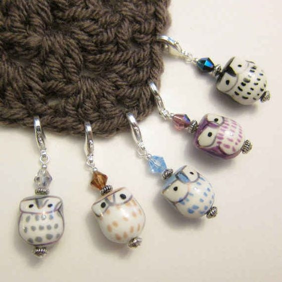 Porcelain Owl Bead Stitch Markers brown