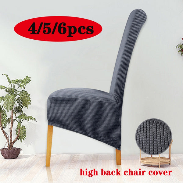 4 5 6PCS Stretch Plaid Chair Cover High Back XL Size Seat Cover for Wedding Party Banquet Dining Room Chair Protector Home Decor 5pcs champagne