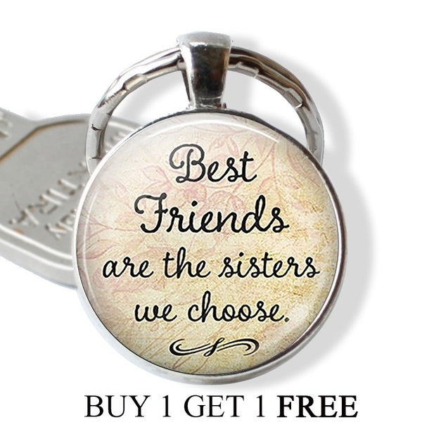 2PCS Gift for Best Friends Best Friends Are The Sisters We Choose Friendship Keychain Car Key Holder Best Friends Key Chain 2 PCS silver