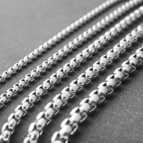 Stainless Steel Box Chain Steel Square Necklace Width4mm-Length60cm silver
