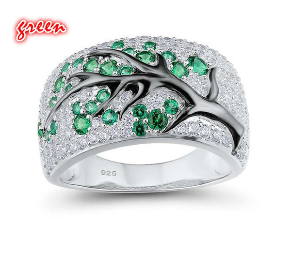 Silver Ring with Tree Branch Designs assorted colors 10 blue