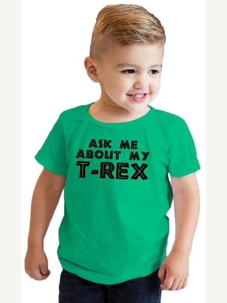 Ask Me About My T Rex T-Shirt 4-6Years blue