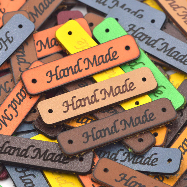 Faux Leather Hand Made Label Tags for DIY Custom Items 6 - Orange