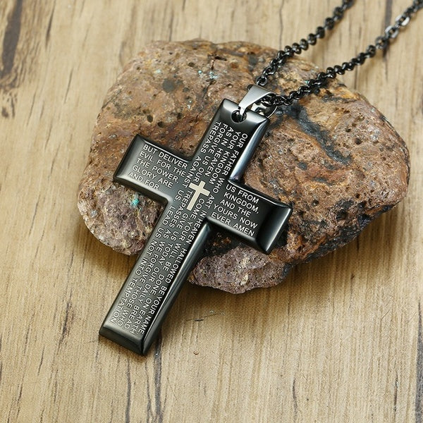 Stainless Steel Black Cross Pendant Necklace 22 In