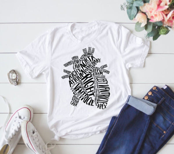 Womens Anatomical Heart T-shirt great for nurses and doctors S mint