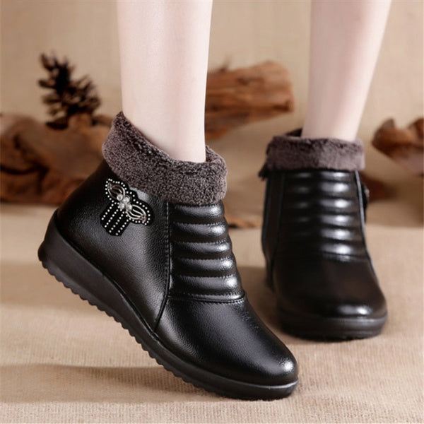 High quality new winter flat boots for women soft leather ankle shoes for women casual comfortable warm snow boots 36 black