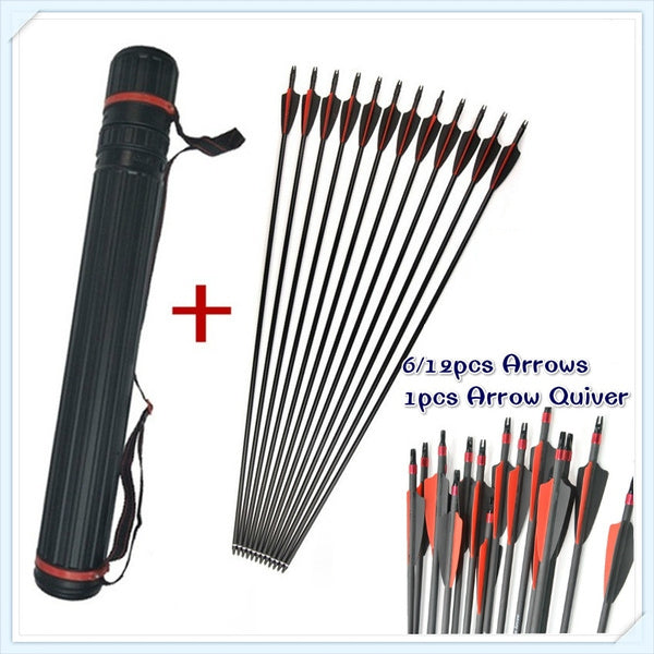 Outdoor Sports 6 12 Pcs 30inch Spine 500 Outer Diameter 8mm 2 Black 1 Red Feature Fiberglass Shooting Arrows 1 Adjustable Quiver for Archery Hunting 12pcs Arrows