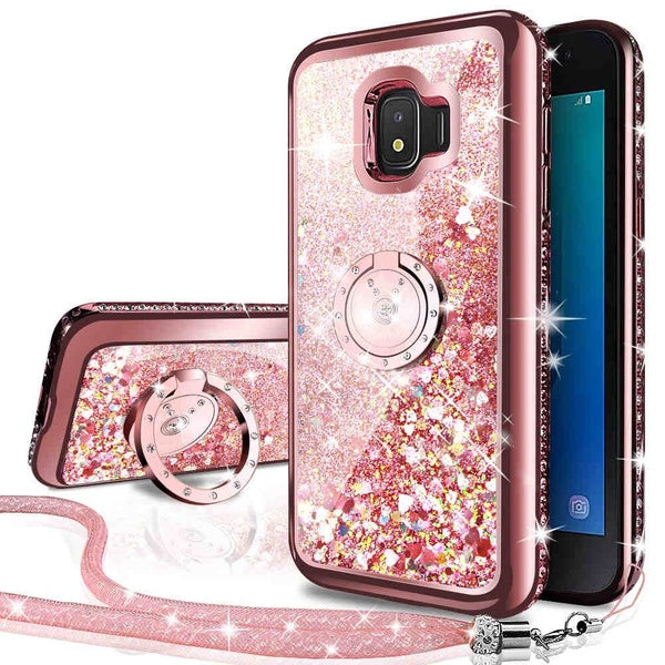 Moving Liquid Holographic Glitter Case with Ring Stand