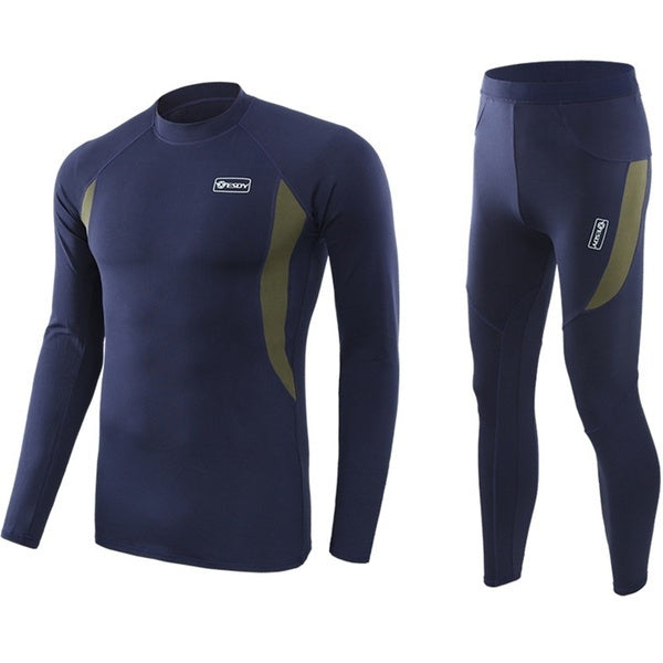 Mens Fleece Quick Drying Thermo Clothing Set L navyblue