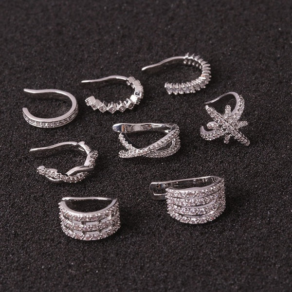 Chic Earring Cuffs Nunmber 3 silver