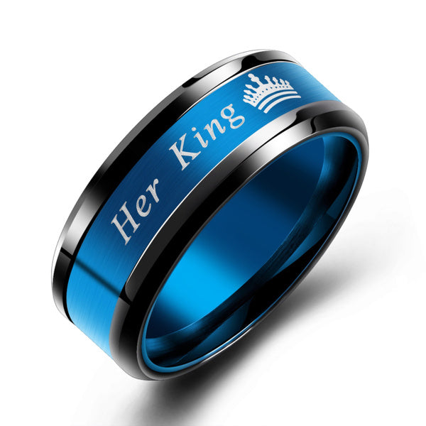 Her King or His Queen Couples Matching Promise Ring Stainless Steel Comfort Fit His and Hers Wedding Band Ring for Mens Womens