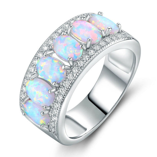 Exquisite Solid silver Natural Gemstone Opal Diamond Ring Bride Wedding Engagement Fine Jewelry
