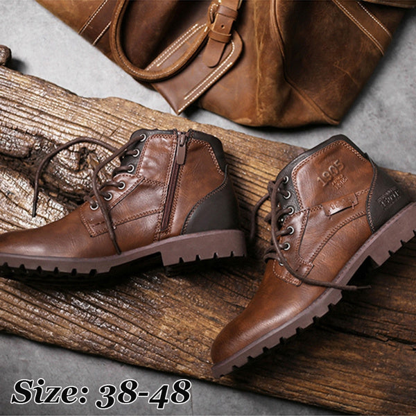 New Arrival Mens Fashion Bullock Rubber Leather Short Boots Autumn Winter Male Vintage Pointed Toe Elastic Panels Boots Ankle Boots Outdoor Motorcycle Boots Plus Size 48 US6 EU38 black