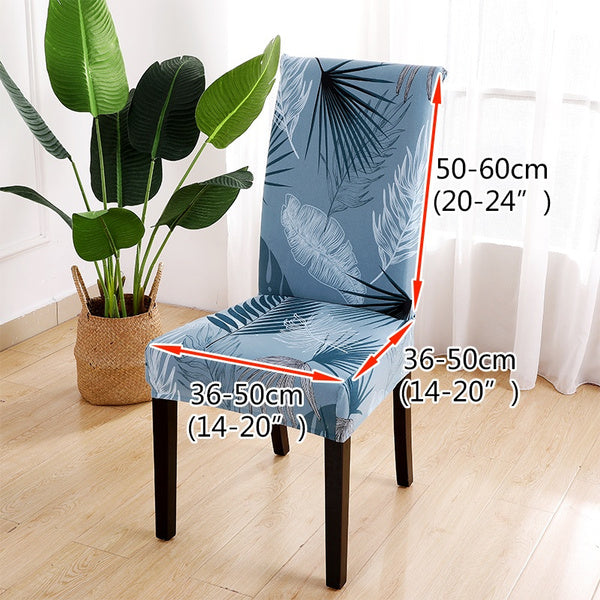 Dining Room Decor Printed Removable Washable Short Dining Chair Covers Stretch Super Fit Seat Slipcover for Hotel Wedding Party Decoration I--4pcs