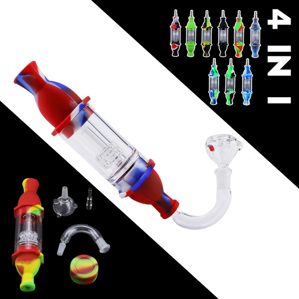 4 in 1 Smoking Filter Glass Tool Kits 7.1 Inch Honey Straw Pipe with 10mm Titanium nail and 7ml Silicone Wax Container Pack of 1 lightbluewhite