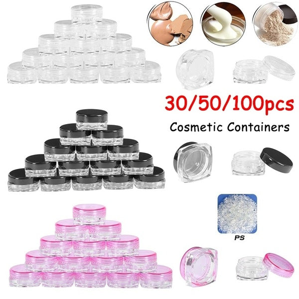 Clear Plastic Sample Container 30PCS 3 ml pink