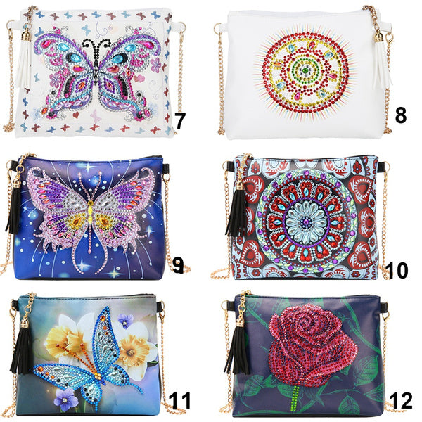 31Styles DIY Butterfly Special Shaped Diamond Painting Leather Chain Messenger Bags 13