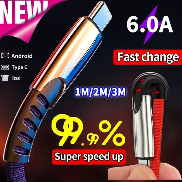 Luxury USB Cable for IPhone XS MAX XR X 7 8 SE for IPad Charging Wire Cord Charger Cable for Micro USB Android Phones for Huawei Samsung Type-C Phone Charging Cord 1m for type-c black