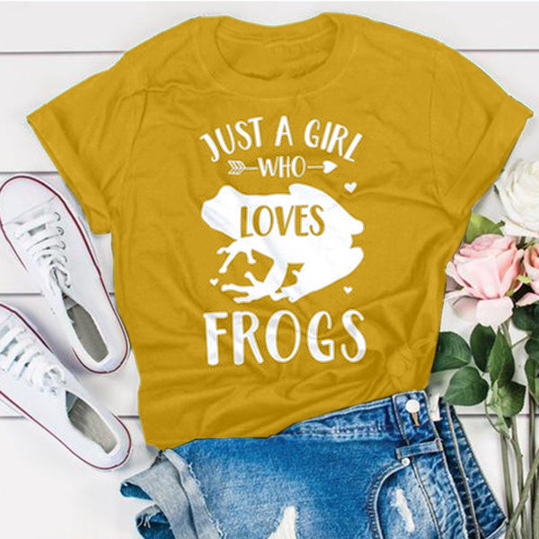 Just A Girl Who Loves Frogs Shirt XXXXXL yellow
