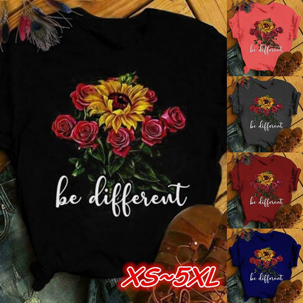 New Arrival Vogue Women Summer Roses amp Sunflower Be Different Tops T-Shirts Plus Sizecasual Funny Tees XXXXL navyblue