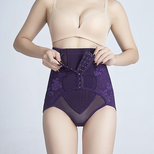 Fine mesh thin high waisted lace hip strap, waist buckle, body shaping and belly closing pants M khaki
