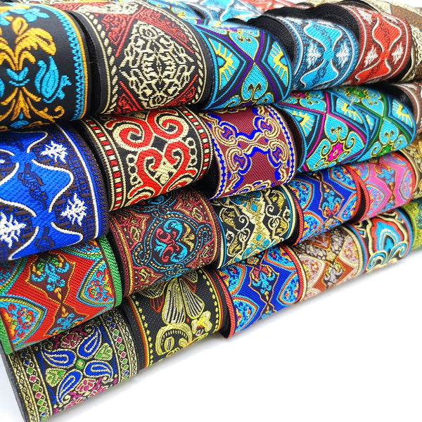 3 Yards 50mm Vintage Ethnic Embroidery Lace Ribbon Boho Lace Trim DIY Clothes Bag Accessories Embroidered Fabric 15