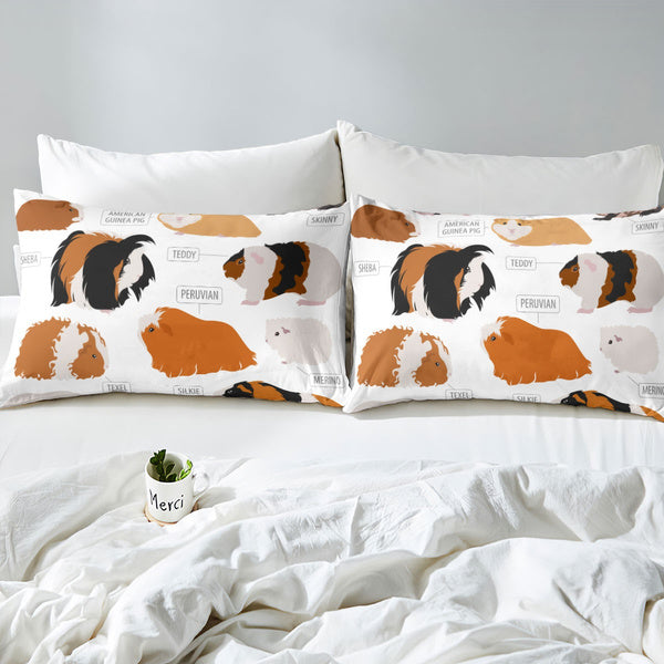 Kids Gift Guinea Pig Comforter Cover Cute Animals Pattern Types of Rodent Breeds Nursery Boys Decorative 3 Pieces Bedding Set 1 3D Printed Duvet Cover Set And 1 2 Pillow Shams And Zippers Ties Brown Ginger DE Size 61 x87 155x220cm multicolor
