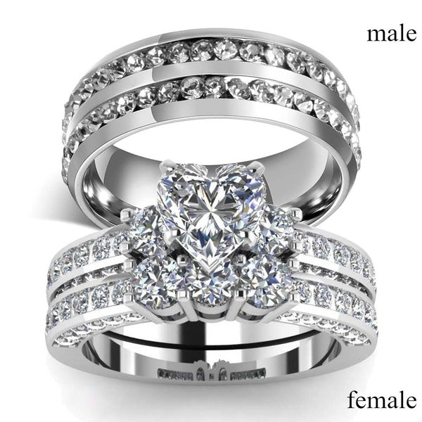 Stainless Steel Zircon Ring female ring size 10
