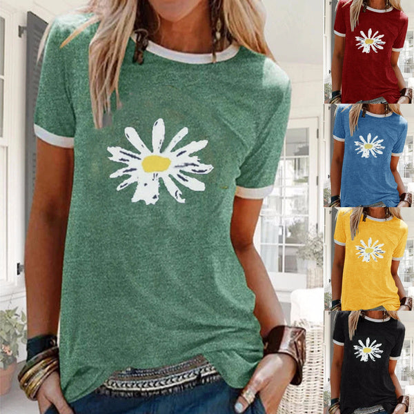Womens Fashion Daisy Print Shirt Casual Short Sleeve O Neck Shirt Slim Fit Top Bright Color T-Shirts Summer Holiday Shirt Loose Top Cotton Tee Plus Size S-5XL XXXXXL blue