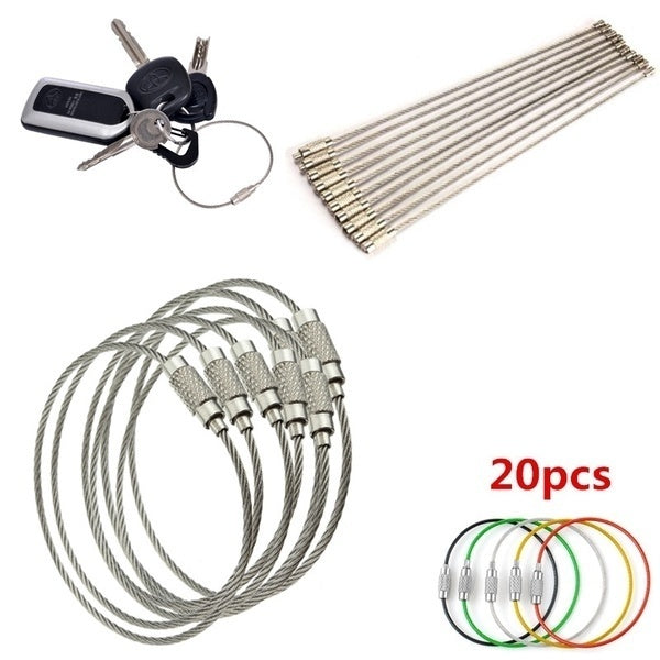 Stainless Steel Wire Keychain Cable 5pcs green