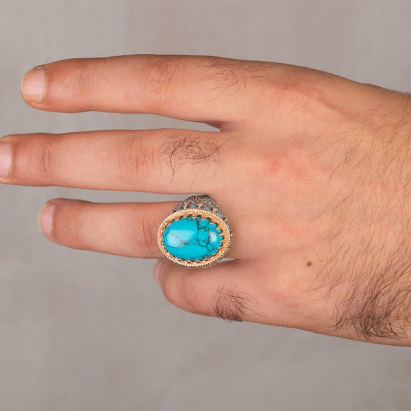 Fashion Mens Natural Black Blue Turquoise Vintage Ring Silver Gemstone Engagement Rings Punk Biker Party Wedding Band Jewelry Size 7-13 7 blue