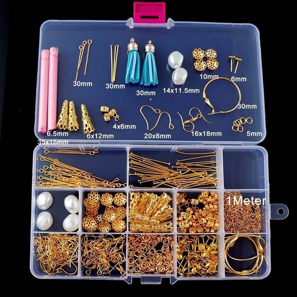 Jewelry Accessories Kit Metal Parts Ring Chain Pin Set for Jewelry Making DIY Beading Bracelet Necklace Earring
