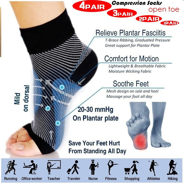 Sprain Protection with Yoga and Ankle Exercise Fashion 1-4 Pair Foot Compression Fasciitis Socks Ankle Heel Pain Support Wear Sport Running Yoga Socks 4pair-L XL black white