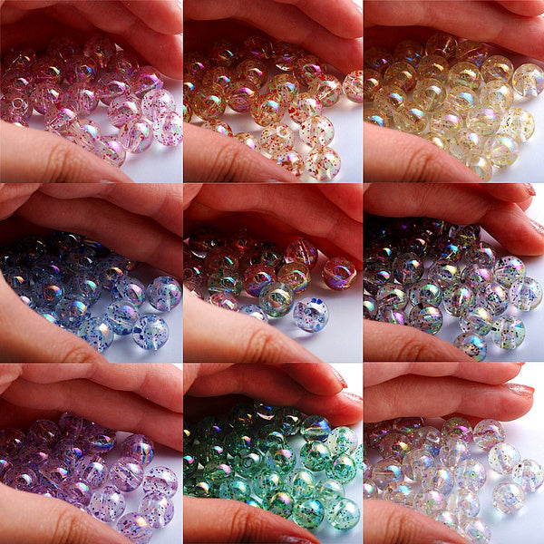 8 10mm 9 Colors Acrylic Glitter Powder Beads for Jewelry Making DIY Bracelet Necklace Blue-10mm-50pcs