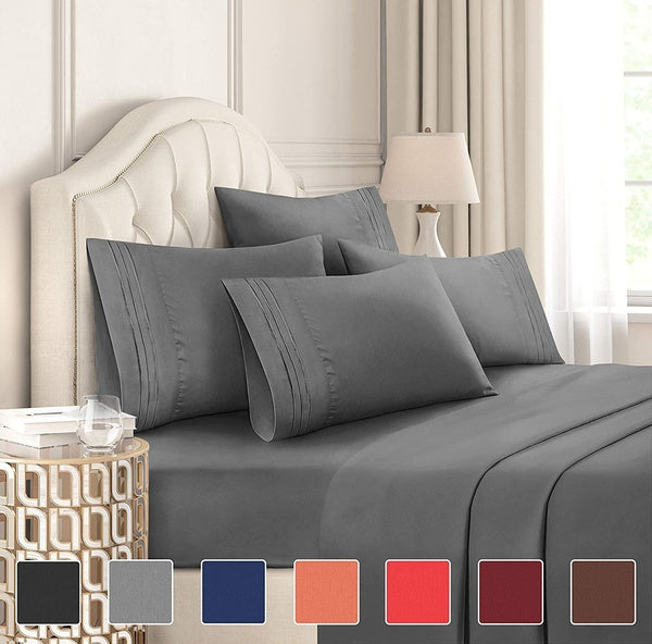All Size 6 Piece Bed Sheets Set Extra Soft Breathable Brushed 1800 Series Microfiber, Cooling, Wrinkle Fade Resistant, Comfortable Deep Pocket Bedding Set