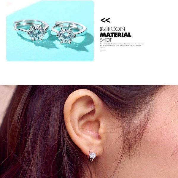 Womens Fashion Exquisite Silver Earrings Diamond Ring Wedding Party Silver Jewelry 10 Pair silver