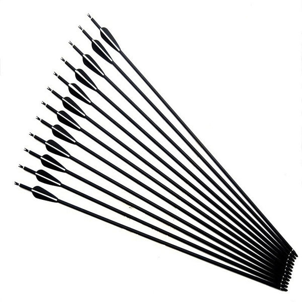 Carbon Arrow with Black and White Color for Recurve Compound Bows Archery Hunting 20pcs