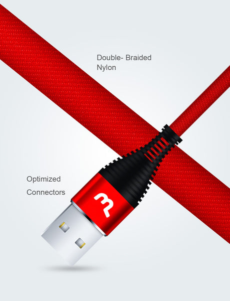 USB Phone Charging Cable Micro or Type-C Type- C - 3M Red