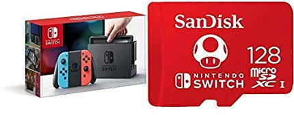 Nintendo Switch – Neon Red and Neon Blue Joy-Con with 128GB MicroSDXC UHS-I Card - Shop Video Games