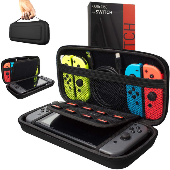 Orzly Carry Case Compatible With Nintendo Switch - BLACK Protective Hard Portable Travel Carry Case Shell Pouch for Nintendo Switch Console & Accessories - Shop Video Games