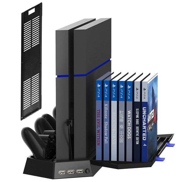 Kootek Vertical Stand for PS4 Slim/Regular Playstation 4 Cooling Fan Controller Charging Station with Game Storage and Dualshock Charger (Not for PS4 Pro) - Shop Video Games