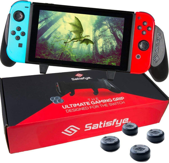 Satisfye - Accessories Compatible with Nintendo Switch - Comfortable & Ergonomic Switch Grip, Joy Con & Switch Control - #1 Switch Accessories Designed for Gamers. FREE BONUS: 4 Thumbsticks - Shop Video Games