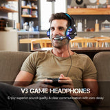 Gaming Headset for PS4 Xbox One, Micolindun Over Ear Gaming Headphones with Mic Stereo Surround Noise Reduction LED Lights Volume Control for Laptop, PC, Tablet, Smartphones - Shop Video Games
