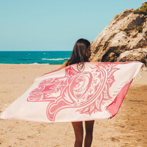 Assos Beach Towel - 100% Turkish Cotton Fast Drying Stylish Multi-purpose - San Diego