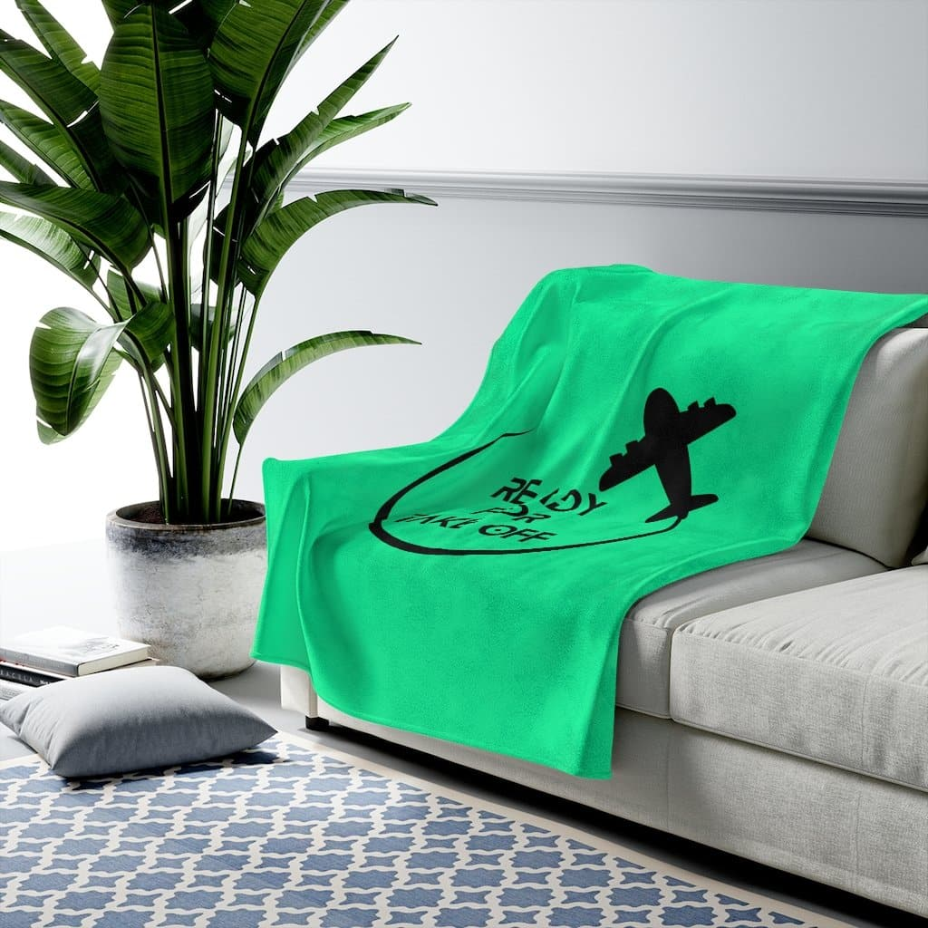 Green Ready for Take Off Velveteen Plush Blanket
