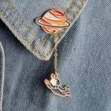 Astronaut and Planet Pin-On Brooch