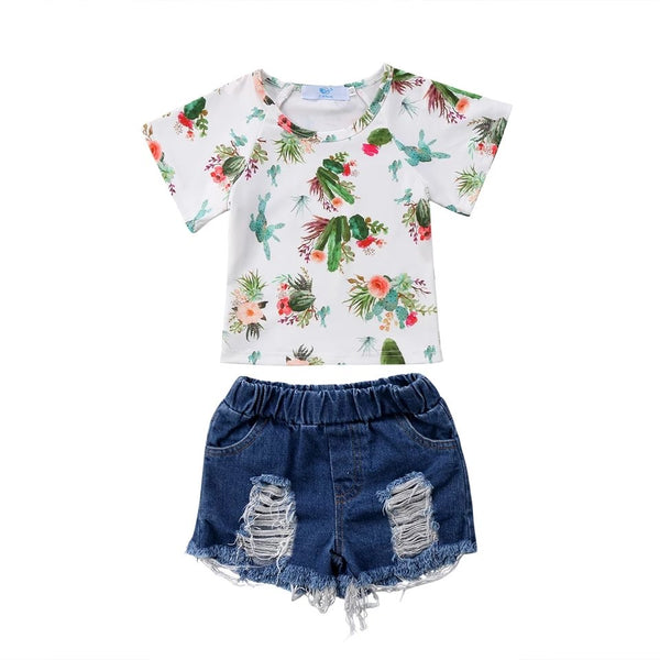 "2 Piece ""Floral Cactus"" Shirt and Denim Shorts Set"