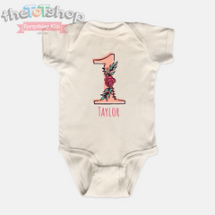 """1 Rose"" Girls Custom Name 100% Cotton Bodysuit"
