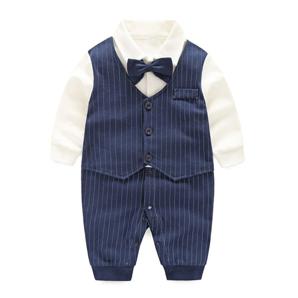 """Little Man"" Navy Bowtie Romper"